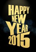 New year 2015 text lights effect Stock Illustration