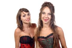 Stock Photo of two young women dressed in a corset