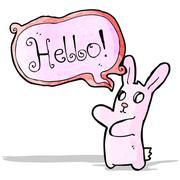Stock Illustration of spooky rabbit halloween cartoon saying hello