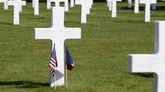 NORMANDY, FRANCE - JULY 29, 2014: Graves of U.S. soldiers killed near Normandy. Stock Footage