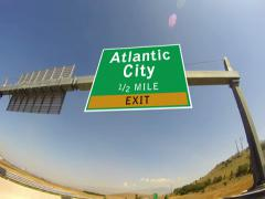 4k driving on highway/interstate,  exit sign of the atlantic city, new jersey Stock Footage
