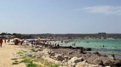 Crowd vacation people at San Vito Lo Capo Beach Stock Footage
