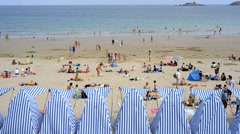 DINARD, FRANCE - JULY 30, 2014: Beach tents at Plage de l'Ecluse in the town Din Stock Footage