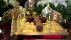 Orthodox wedding crowns on gospel - stock footage