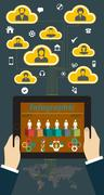 Tablet PC with Hands and Vector Icons infographic Stock Illustration