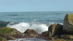 Surf splash on the Rocks distant horizon Stock Footage