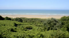 Omaha Beach (D-Day WWII), Colleville-sur-Mer, Calvados, Normandy, France Stock Footage