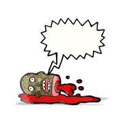 gross severed head cartoon - stock illustration
