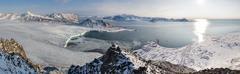 Arctic fjord (sea, glacier, mountains) - PANORAMA Stock Photos