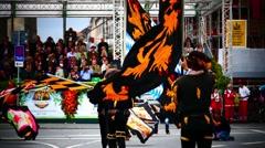 MUNICH BEER FESTIVAL OKTOBERFEST OCTOBERFEST 2014 Flag wavers Stock Footage