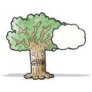 Tree with thought bubble cartoon Stock Illustration