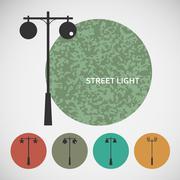 Set vintage street lights on colored backgrounds Piirros