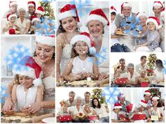 Collage of families enjoying celebration moments together at home - stock illustration