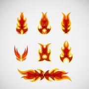 Fire, burning on the wood. Vector design - stock illustration