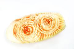Design Carving Rose Flower Papaya - stock photo