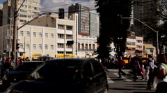 Cross walk in a Brazilian city - stock footage