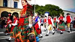 MUNICH BEER FESTIVAL OKTOBERFEST OCTOBERFEST 2014 Group in medieval Costume Stock Footage