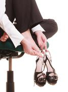 Break from work. foot pain of businesswoman. Kuvituskuvat