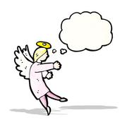 Stock Illustration of angel with thougth bubble cartoon