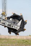 Opencast brown coal mine. bucket wheel excavator. Stock Photos