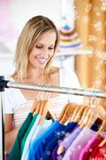 Bond woman is doing shopping Stock Illustration