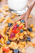 Breakfast (cornflakes and berries) Stock Photos
