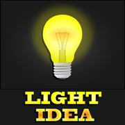 Glowing yellow light bulb as inspiration concept Piirros