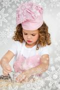 Stock Illustration of Cute little girl making biscuit at a table