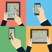 Interaction hands using mobile apps. infographics Stock Illustration