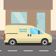 Beige delivery Van Stock Illustration