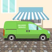 Green delivery Van Stock Illustration