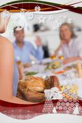 Woman bringing the turkey to the dinner table - stock illustration