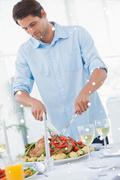 Attractive man carving the dinner Stock Illustration
