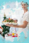 Attractive woman bringing roast chicken at a christmas dinner - stock illustration