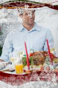 Attractive man sitting at table for christmas dinner Stock Illustration