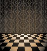 Brown room with checkered floor - stock illustration