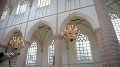 Slidershot of chandelier in church Stock Footage
