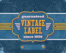 Stock Illustration of Aged vintage labelon blue cardboard