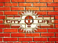 Brick wall with urban life sign Stock Illustration