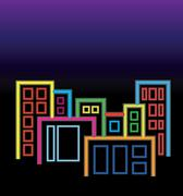 City of neon lights Stock Illustration