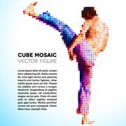 Mosaic vector sportsman made of cubes Stock Illustration