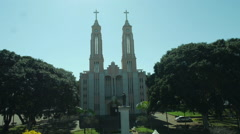 Aerial Image of a Church - 008 Stock Footage