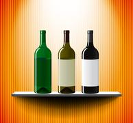 Shelf with three vine bottles Stock Illustration