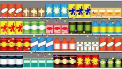 Supermarket shelves with garlands Stock Illustration