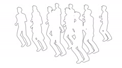 Silhouettes of people running Stock Footage