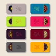 Collection of ornamental floral business cards, oriental pattern Stock Illustration