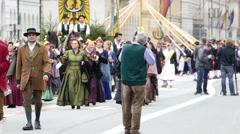 German Oktoberfest Munich Beer Festival Photographers shooting Parade - stock footage