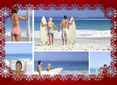 Collage of couple on the beach - stock illustration