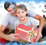Stock Illustration of Happy little girl with her father receiving a christmas present