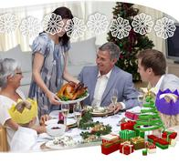Happy family celebrating christmas dinner with turkey - stock illustration